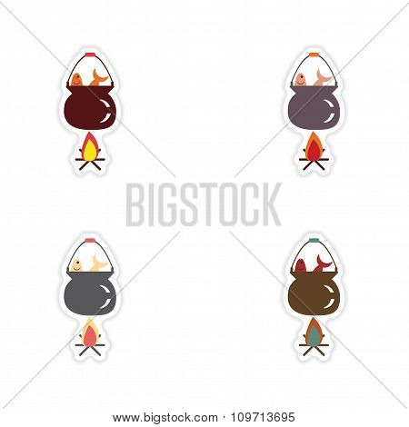 Set of paper stickers on white background fish soup fire