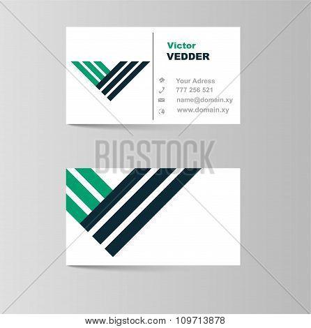 Business Card For Letter V