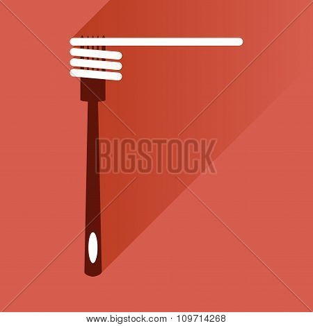 flat icon with long shadow spaghetti on fork