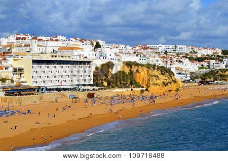 Albufeira Beach on the Algarve coast of Portugal