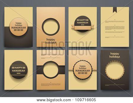 Set of brochure, poster design templates in Hanukkah style
