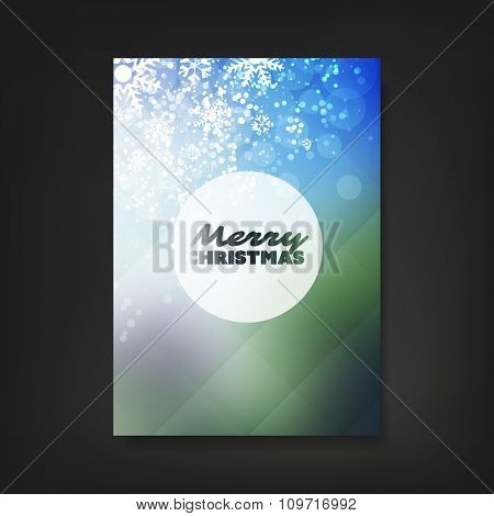 Christmas Flyer or Cover Design With Christmas Tree And White Sparkling Background