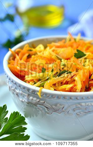 Spicy Carrot Salad With Onion,cheese And Parsley.