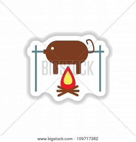 stylish paper sticker pig roasting on a fire