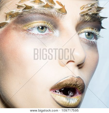Woman With Bubble In Mouth