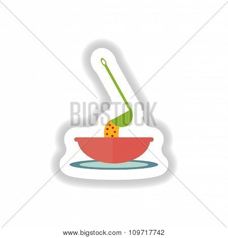 stylish paper sticker a bowl of soup and ladle