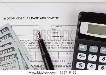 Lease Document Agreement With Calculator
