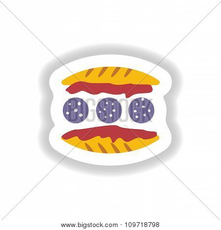 stylish paper sticker burger with sausage and salad