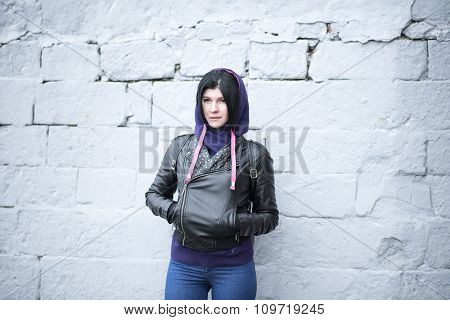 Outdoors fashion brunette standing