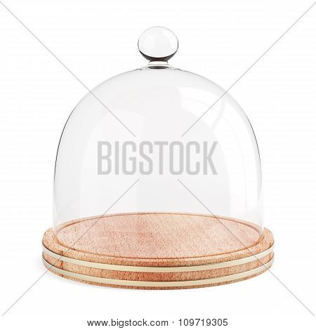 Glass Dome On The Wooden Plate Isolated On White Background