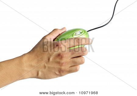hand holding a computer mouse
