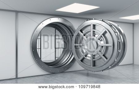 3D Rendering Of A Big Open Round Metal Safe With Locked Lock-boxes Behind Bars In A Bank Depository,