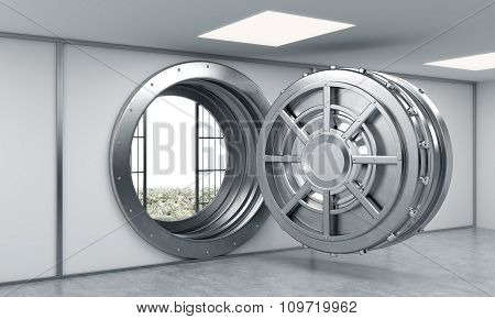 3D Rendering Of A Big Open Round Metal Safe In A Bank Depository With Heaps Of Dollars Behind Bars,