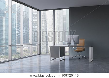 A Workplace In A Modern Corner Panoramic Office With Singapore View. A Black Desk With A Modern Comp