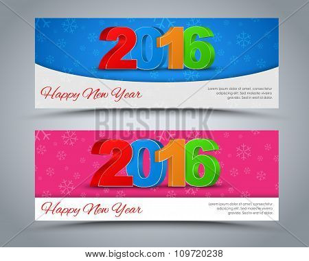 A Set Of Banners Happy New Year 2016