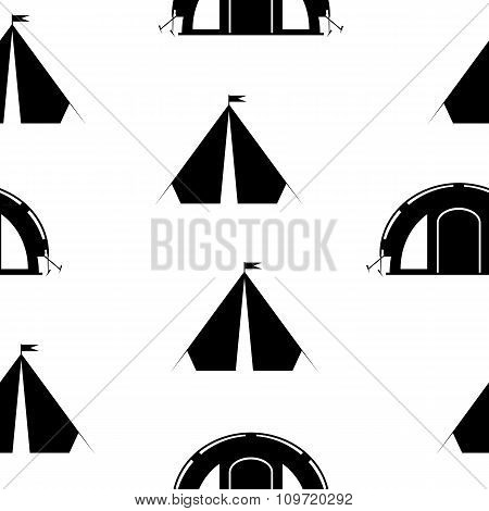 Camping Tent Seamless Pattern.