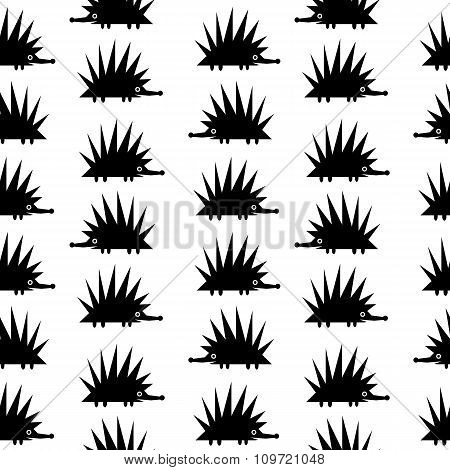 Hedgehog Icon Seamless Pattern.