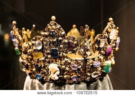 Antique Jewelry Golden Crown With Precious Gems