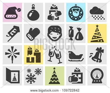 Christmas and new year set black icons. signs and symbols