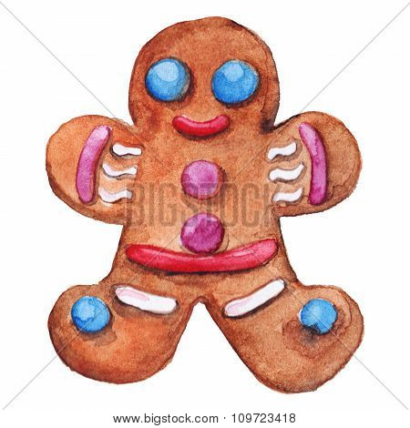 Christmas ginger biscuit man isolated