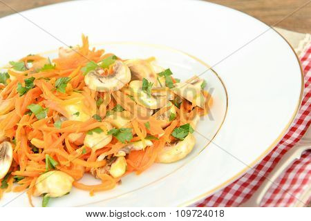 Healthy and Diet Food: Salad Carrot Mushrooms.
