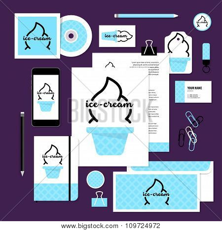 Vector Stationery Template Design With Ice-cream Elements.