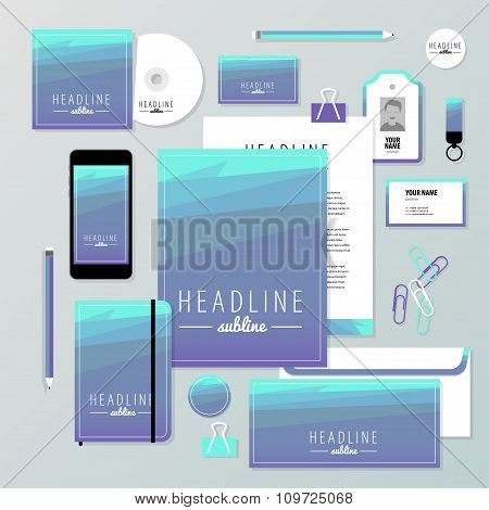 Vector Stationery Template Design With New Year Elements, 20