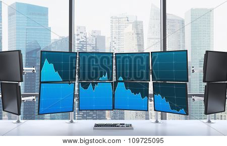 3D Rendering Of Office With Switched On Monitors, Processing Data For Trading, Window At The Backgro