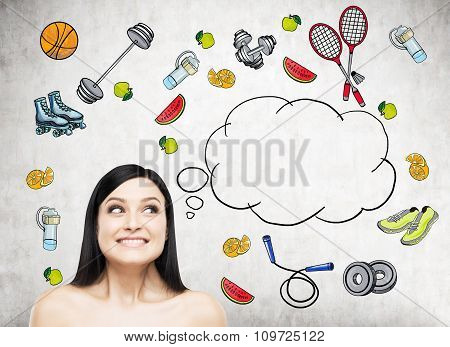 Dreaming Beautiful Lady Is Thinking About Her Choice Of Sport Activity. Colourful Sport Icons