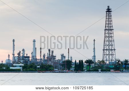 Oil refinery manufacturing plant waterfront
