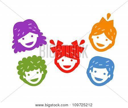 smiling kids on a white background. vector illustration