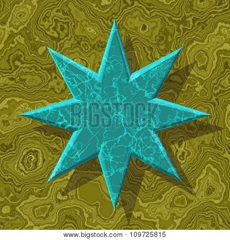 Abstract decorative symbol, blue star - practical shape