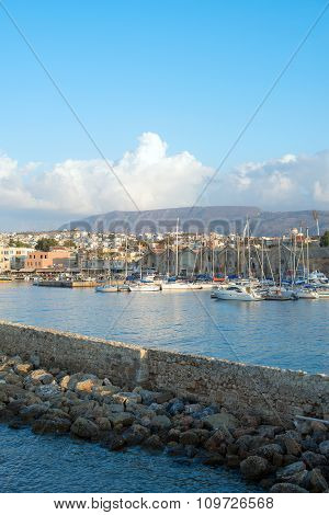 Scenic View Of Cityscape And Port. Chania, Greece.