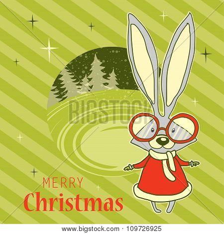 Bunny illustration. Christmas card.