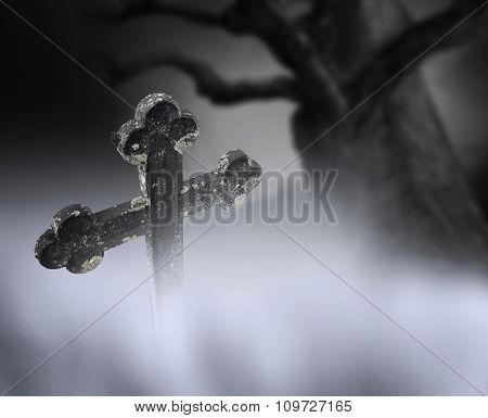 Ancient Cross On Cemetary