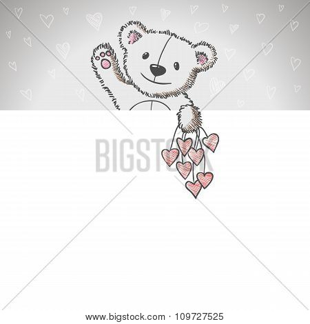 Banner With Sketch Style Hand Drawn Bear
