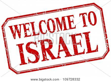 Israel - Welcome Red Vintage Isolated Label