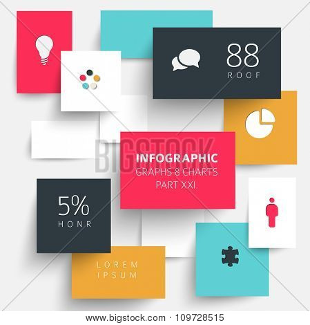 Vector flat design infographic elements (diagrams with rectangles) - 21. part of my infographic bundle