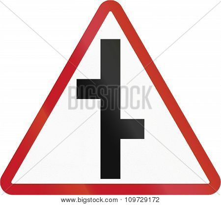 Road Sign In The Philippines - Staggered Cross Road