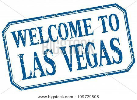Las Vegas - Welcome Blue Vintage Isolated Label