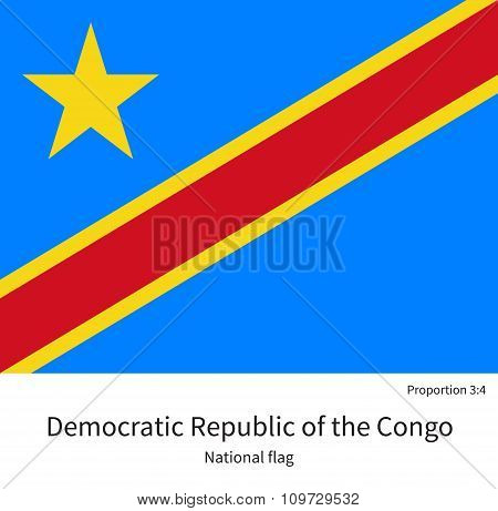 National flag Democratic Republic of the Congo with correct proportions, element, colors