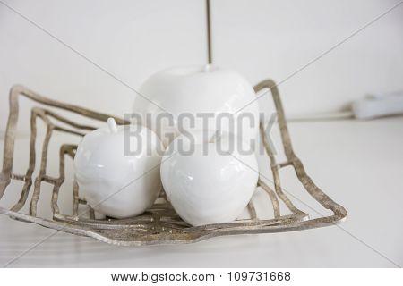 White Plastic Apple Isolated On White Background