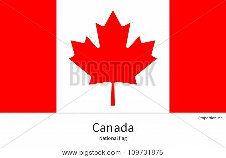 National flag of Canada with correct proportions, element, colors