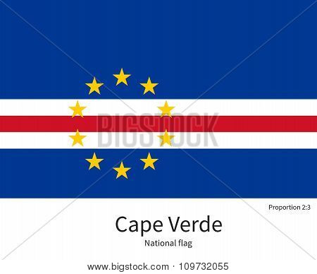 National flag of Cape Verde with correct proportions, element, colors