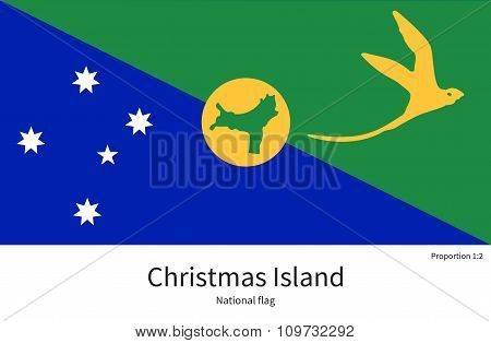 National flag of Christmas Island with correct proportions, element, colors