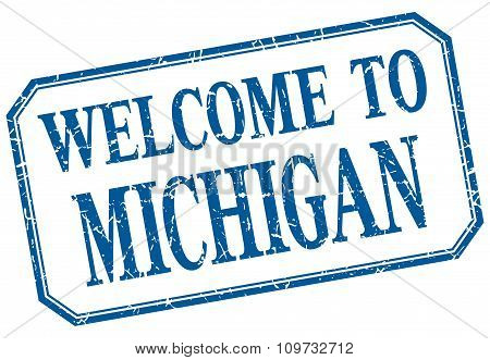 Michigan - Welcome Blue Vintage Isolated Label
