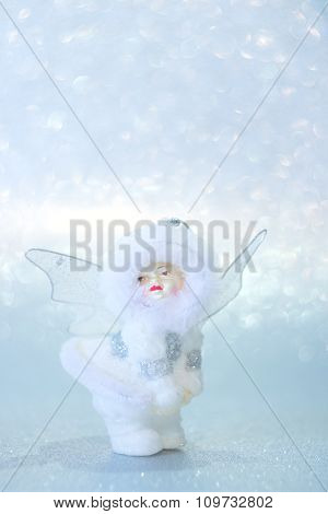 Christmas Angel On A Silver Background