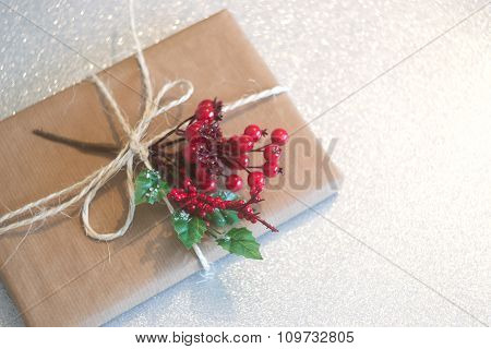 Christmas Gift On A Silver Background
