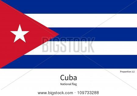 National flag of Cuba with correct proportions, element, colors