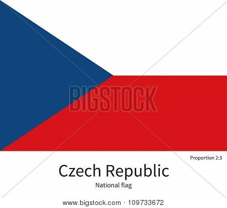 National flag of Czech Republic with correct proportions, element, colors